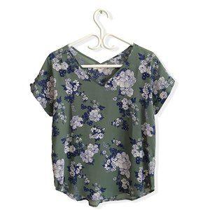 Flowy Loose Floral Short Sleeve Top